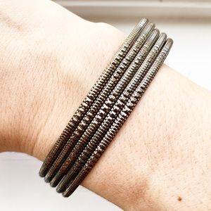 Vintage brassy thin tribal-style bangle bracelets